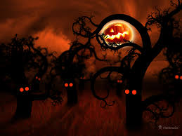 scary halloween background halloween in the midnight forest desktop wallpapers vladstudio