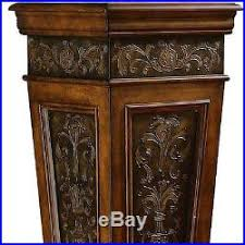 Wood Pedestal Stand Indoor Plant Stand Pedestal Accent Table Display Tall Wood Metal