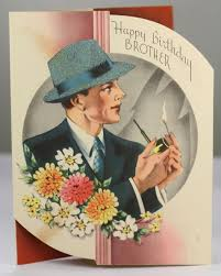 vtg greeting card brother happy birthday male men pipe smoking