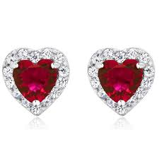 heart shaped earrings heart shaped ruby earrings melabottino