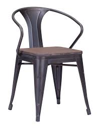 Rustic Wood And Metal Dining Chairs Zuo Helix Dining Chair With Wood Seat Gunmetal Chairs Industrial