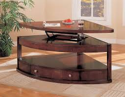 Triangular Coffee Table Brown Traditional Wooden Triangular Coffee Table Ideas To