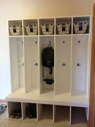 mudroom locker system built one weekend pinterest nice design like two rows hooks one locker could adjustable shelves with baskets for mittens hats etc but nec