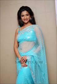 rishika singh blue transparent designer saree photos