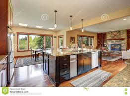 kitchen area with open floor plan view of living room and dining