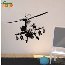 vinyl adhesive home decor military helicopter wall sticker kids