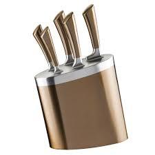 wilkinson kitchen knives wilko knife block copper effect 5pcs wilko