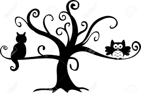 halloween free clipart halloween night owl and cat in tree royalty free cliparts vectors