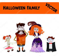 vector halloween isolated festive orange october vector halloween family