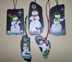 painting on slate handpainted snowman ornament