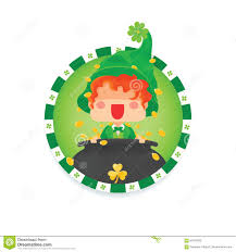 happy st patrick s day leprechaun with pot of gold stock vector