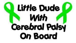 cerebral palsy ribbon dude with cerebral palsy on board green ribbons