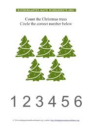 kindergarten count and circle christmas trees worksheet