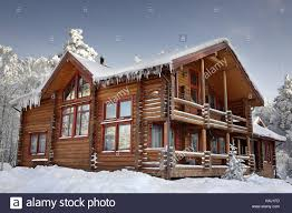 Home Design Stock Images by Log Cabin With Large Windows Balcony And Porch Modern House