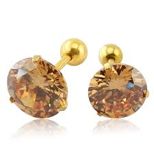 gold studs 3 9mm aaa zircon simple design rhinestone gold stud