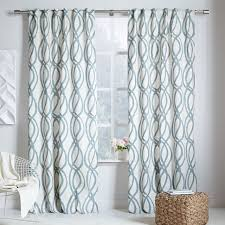 Teal Curtains Cotton Canvas Scribble Lattice Curtains Set Of 2 Blue