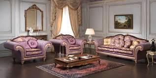 Italian Interior Design Classic Purple Sofa Set For Italian Interior Design With Plastered