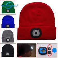 knit hat with led lights 1pc 4 led knit warm hat handl cap button battery outdoor climbing