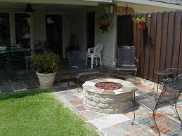 exterior modern small winter patio up with wood burning fire pit