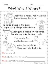 reading comprehension who what where education literature