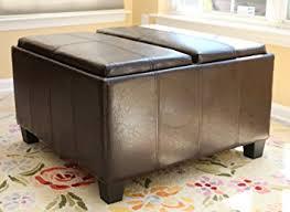 amazon com home life leather espresso tray top storage ottoman