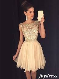 a line round neck cap sleeves short champagne prom dress short