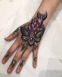 tattoo hand design moth u0026 crystals girls hand tattoo best tattoo ideas u0026 designs
