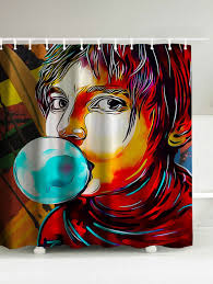 Graphic Shower Curtains by Boy Blowing Bubbles Waterproof Shower Curtain Colormix Cm In