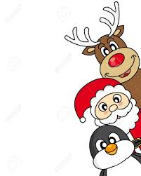 vector xmas illustration of santa claus reindeer and penguin