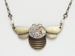 steampunk necklace gold bumble bee vintage watch movement genuine
