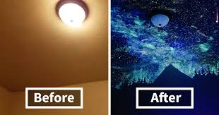 Glow In The Dark Star Ceiling by Woman Creates Glow In The Dark Galaxy Painting For Boy Who Couldn