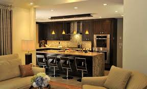 recessed lighting and mini pendant lights for kitchen island