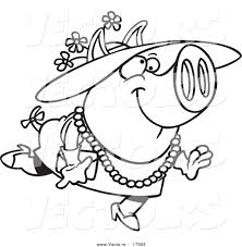 vector of a cartoon stylish pig wearing a hat coloring page