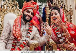 flowers garland hindu wedding indian groom dressed traditional shewrani stock photo