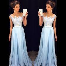 illusion neck light blue prom dresses with lace applique bodice