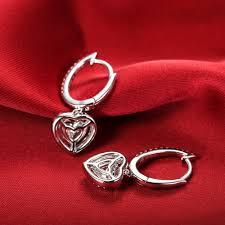 romantic 1 5ct piece sterling 925 silver earrings heart shape synthetic diamonds dangle earrings love engagement jpg