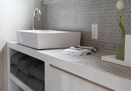 Bathroom Vanity Backsplash Ideas by Blue Bath Vanity With Gray Herringbone Tile Backsplash