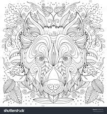 coloring wolf face stock vector 639961936 shutterstock