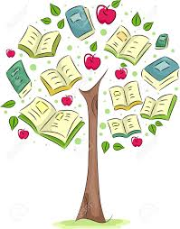 illustration of a tree with books for leaves stock photo picture