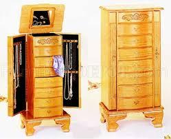 light oak finish stylish deluxe jewelry armoire