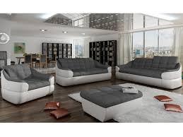 canapé 3 places design canapé en tissu et simili gris blanc ou gris noir farez