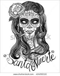 Day Of The Dead White Woman Sugar Skull Makeup Day Dead Stock Vector 520117186
