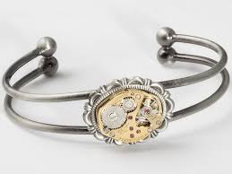 make silver bracelet cuff images Steampunk cuff bracelet made with a bulova gold watch movement and jpg