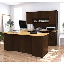 U Shape Desks Bestar Manhattan U Shaped Computer Desk In Secret Maple And