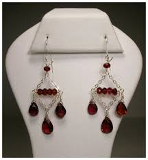 Garnet Chandelier Earrings Sterling Silver Garnet Chandelier Earrings Blue Frog Jewels