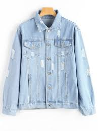 Light Denim Jacket Button Up Ripped Pocket Denim Jacket Light Blue Jackets U0026 Coats L
