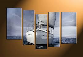 Ship Decor Home by 5 Piece Grey Ocean Ship Multi Panel Canvas