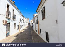 spanish street scene typical whitewashed houses in altea old