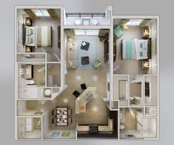 2 Bedroom Floor Plans by 50 3d Floor Plans Lay Out Designs For 2 Bedroom House Or Apartment