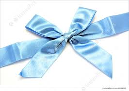white and blue ribbon picture of blue ribbon with bow isolated on white